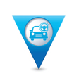 car with rudder icon map pointer blue vector image vector image