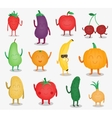 Cartoon fruits and vegetables Funny food concept vector image vector image