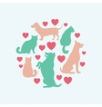 Cats and dogs silhouette round composition vector image vector image