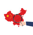 china map flag with hand hold magnifying glass vector image