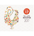 chinese new year rooster icon decoration vector image