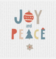 christmas greeting card invitation joy and peace vector image