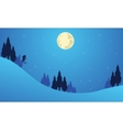 Christmas landscape with people playing ski vector image vector image