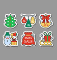 christmas season sale icon sticker set flat style vector image