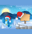 christmas theme with bird and sign vector image vector image