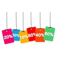 colorful hanging cardboard Tags - discount vector image vector image