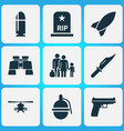 combat icons set collection of missile glass vector image vector image