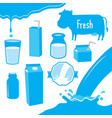 cow milk packaging blue icon cartoon design vector image vector image