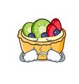 crying fruit tart mascot cartoon vector image