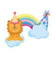 cute and little lion with party hat and rainbow vector image