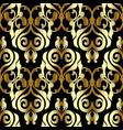 damask seamless pattern black gold floral vector image vector image
