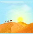 desert with dunes and camels sunset in blue sky vector image vector image