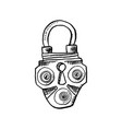 door lock or latch in sketch style outline or vector image