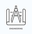 engineering flat line icon outline vector image vector image