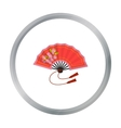 Folding fan icon in cartoon style isolated on vector image vector image