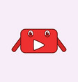 funny mascot youtube channel in red and white vector image vector image