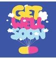 Get well soon postcard vector image vector image
