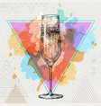 hand drawing champagne glass vector image vector image