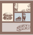 hand drawn food sketch cards for menu restaurant vector image