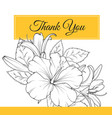 hibiscus lily flowers thank you card template vector image vector image