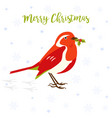 holiday greeting card with cute robin bird vector image vector image