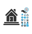 House Front Door Flat Icon With Bonus vector image vector image