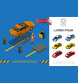 isometric car repair service concept vector image vector image