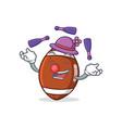 juggling american football character cartoon vector image vector image