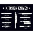 kitchen knives set poster butcher diagram vector image