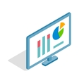 Monitor with charts icon isometric 3d style vector image vector image