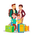 parents and children traveling with suitcases vector image vector image
