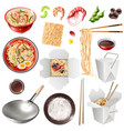 Realistic chinese noodles set