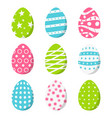set color easter eggs isolated on white vector image