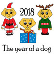 set of 3 dogs in new years suits symbol of 2018 vector image vector image