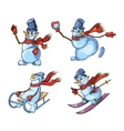 Set of cute snowman in different roles vector image
