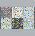 set seamless patterns with flowers vector image