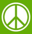 sign hippie peace icon green vector image vector image