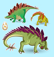 Stegosaurus Dinosaurs Sticker Collection Set vector image vector image