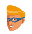 superhero man face male with the mask cartoon vector image vector image