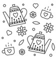 teapots and cups coloring page vector image