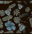 tropical leaves hibiscus and butterfly pattern vector image