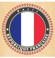 Vintage label cards of France flag vector image