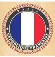 Vintage label cards of France flag vector image vector image