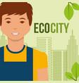 young man eco city alternative environment vector image
