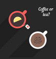 offee and tea with long shadow vector image