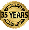 35 years anniversary golden label with ribbon vector image