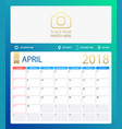 april 2018 calendar or desk vector image vector image