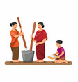 asian woman pounding and cleaning rice traditional vector image vector image
