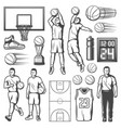 Basketball game players and equipment
