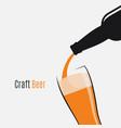 beer bottle logo glass and bottle on white vector image vector image